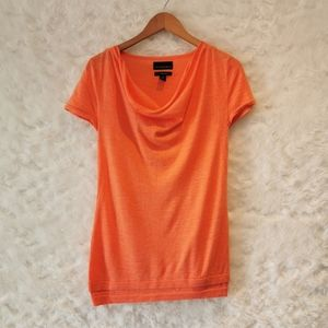Cynthia Rowley Coral Cowl Neck Top